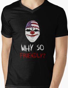 Why so friendly? - White Ink Mens V-Neck T-Shirt
