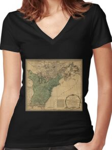 American Revolutionary War Era Maps 1750-1786 947 The United States of America with the British possessions of Canada Nova Scotia & of Newfoundland divided Women's Fitted V-Neck T-Shirt