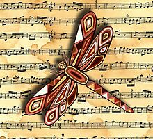 Dragonfly Music Sheet Sepia by Lisafrancesjudd