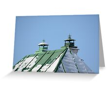 green tin roof with two pipes Greeting Card