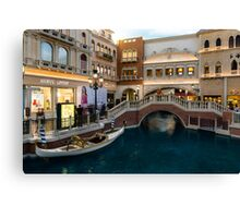 Magnificent Shopping Destination - White Wedding Gondola at the Venetian Grand Canal Shoppes Canvas Print