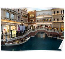 Magnificent Shopping Destination - White Wedding Gondola at the Venetian Grand Canal Shoppes Poster