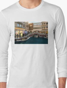 Magnificent Shopping Destination - White Wedding Gondola at the Venetian Grand Canal Shoppes Long Sleeve T-Shirt