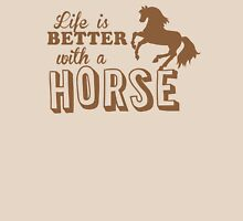 Life is better with a horse Womens Fitted T-Shirt