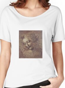 Leonardo Da Vinci - Head Of A Young Woman With Tousled Hair Or Leda Women's Relaxed Fit T-Shirt