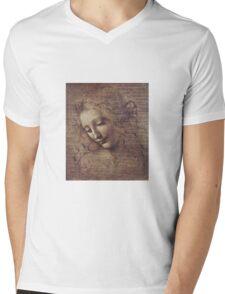 Leonardo Da Vinci - Head Of A Young Woman With Tousled Hair Or Leda Mens V-Neck T-Shirt