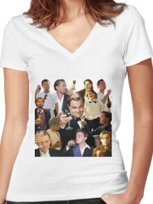 Leonardo DiCaprio  Women's Fitted V-Neck T-Shirt