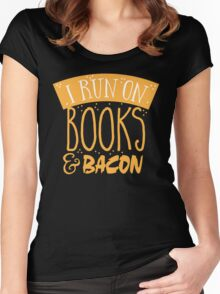 I run on books and bacon Women's Fitted Scoop T-Shirt