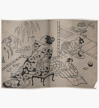 Kiyonobu Torii - Courtesan Painting a Screen - Circa 1710 - Woodcut Poster