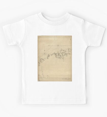 American Revolutionary War Era Maps 1750-1786 006 A chart of New York Island & North River East River passage through Hell Gate Flushing Bay Hampstead Bay Kids Tee