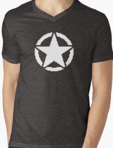 8 Bit Army Star Mens V-Neck T-Shirt