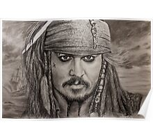 Portrait Captain Jack Sparrow Johnny Depp by Valery Rybakow Poster