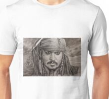 Portrait Captain Jack Sparrow Johnny Depp by Valery Rybakow Unisex T-Shirt