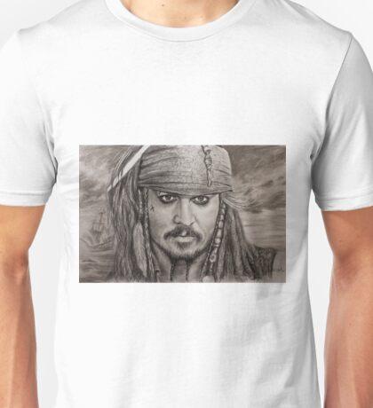 Portrait Captain Jack Sparrow Johnny Depp by Valery Rybakow Unisex T-Shirt
