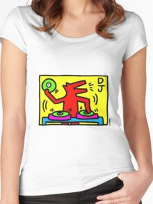 Keith Haring Dj Women's Fitted Scoop T-Shirt