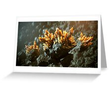 Abstract landscape with floating crystals Greeting Card