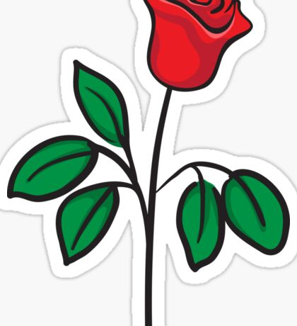 Red rose with stem and green leaves  Sticker
