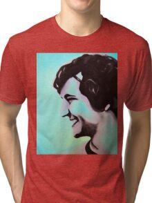 Boy smiling in pop colors, 2011, 24-30cm, oil on canvas Tri-blend T-Shirt