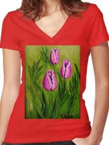 Tulips (2) Women's Fitted V-Neck T-Shirt