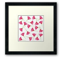 Pretty Pink and Green Scattered Flower Pattern Framed Print
