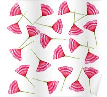 Pretty Pink and Green Scattered Flower Pattern Poster