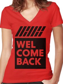 iKON welcome back black edition Women's Fitted V-Neck T-Shirt