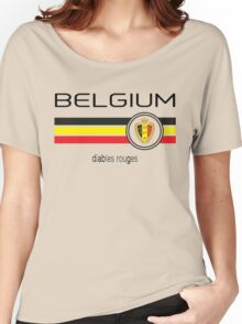 Euro 2016 Football - Belgium (Home Red) Women's Relaxed Fit T-Shirt