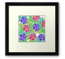 Girly Pink Purple Watercolor Flowers and Foliage Framed Print