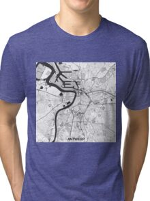 Antwerp Map Gray Tri-blend T-Shirt