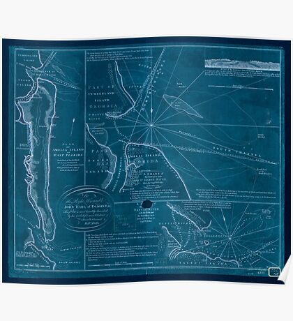 American Revolutionary War Era Maps 1750-1786 737 Plan of Amelia Island in East Florida north point of Amelia Island lyes in 30 55 north latitude 80 23 w Inverted Poster