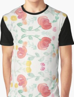 Original Watercolor Floral Painting Pattern- Tulips Graphic T-Shirt