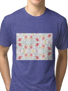 Original Watercolor Floral Painting Pattern- Tulips Tri-blend T-Shirt