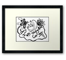 Rachel Doodle Art - Sorry, I Was Thinking About Cats Again Framed Print