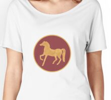 Gold-effect Horses on Deep Red Women's Relaxed Fit T-Shirt