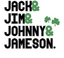 Jack & Jim & Johnny & Jameson Photographic Print