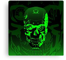 Gamer Skull CARTOON GREEN Canvas Print