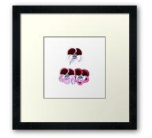 Vintage pink purple white botanical pansies floral Framed Print