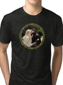 Captain Swan Camelot Garden Digital Watercolor Design 1 Tri-blend T-Shirt