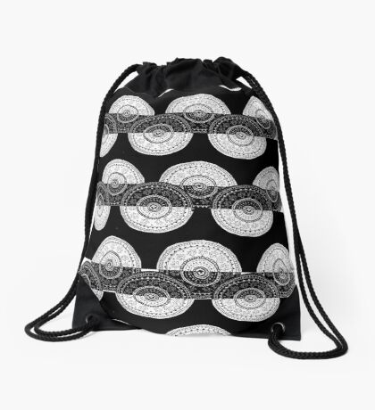 aztec cycles negative & positive Drawstring Bag