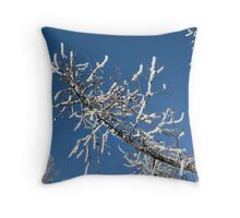 tree branch in the snow Throw Pillow