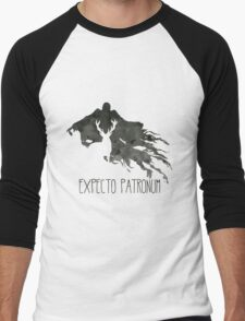 Expecto Patronum Stag Outline On Dementor Men's Baseball ¾ T-Shirt