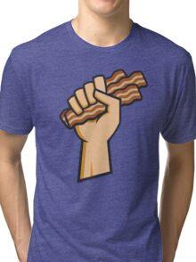 Bacon Battlecry Communist Fist Tri-blend T-Shirt