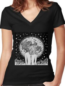 galaxy beings Women's Fitted V-Neck T-Shirt
