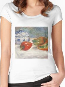 Renoir Auguste - Still Life With A Blue Sugar Bowl And Peppers Women's Fitted Scoop T-Shirt