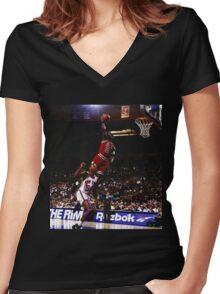 michael jordan chicago bulls Women's Fitted V-Neck T-Shirt