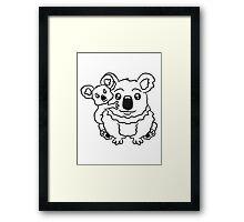 sweet little baby koala cute mamapapa child sitting hold back family Framed Print