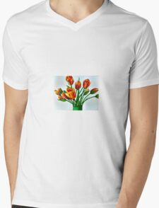 Canvas painting of Tulips Mens V-Neck T-Shirt