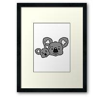 sweet little baby koala cute mamapapa child baby koala faces family heads Framed Print
