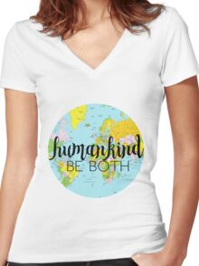 humankind be both Women's Fitted V-Neck T-Shirt