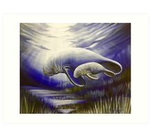 Mother and Son Manatees  Art Print